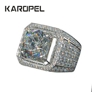 Karopel Micro Pave CZ Wedding Rings Engagement Hip Hop Bling Round Shape Cool Street Men Bling Iced Out CZ Ring