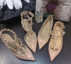 Calidad superior 15 Color Sheepskin Bombas de moda Remache Zapatos de fiesta Mujeres 6cm 8 cm 10 cm tacones altos de cuero genuino EU34-41 Tamaño con caja