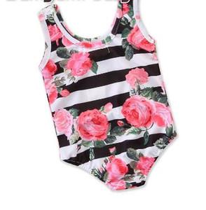 Mädchen Swimwear Sommer-Kleidung Striped Blumendruck Sleeveless Spielanzug Kinder Jumpsuits Kleinkind-Mädchen-Kleidung Größe 2-6Y