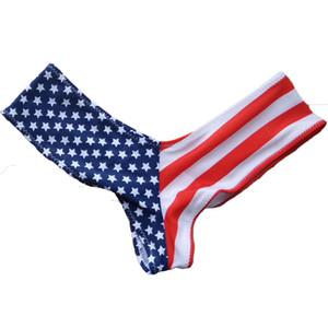 S - 3XL de la bandera americana de natación breve forma de V mujeres del traje de bikini brasileño scrunch inferior trasero bragas tanga ropa interior femenina K130
