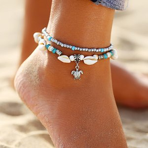 S1356 Hot Fashion Jewelry Vintage Turtle Pendant Charms Anklet Shell Beads Anklet Double Layer Beaded Ankle Bracelet