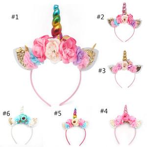Nuevas mujeres fiesta para niños diadema de cuerno de oro / plata flor cuerno niñas sombreros diadema de cumpleaños accesorios para el cabello