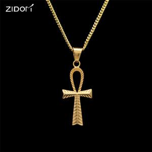 Ankh Colgante de acero inoxidable Collares pendientes Hombres Estilo hip hop Color oro Collar de la llave de vida egipcia Hombres hiphop Regalo de la joyería