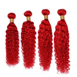 """Цветные красные индийские человеческие волосы глубокая волна 4 пучки ярко-красный девственница человеческие волосы Remy Weave выдвижения глубокие вьющиеся волны двойной утки 10-30 """""""