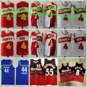 Mens Retro Basketball Jerseys Vintage Pete 44 Maravich Spud 4 Webb Dominique 21 Wilkins 55 Mutombo Stitched Jersey Swingman