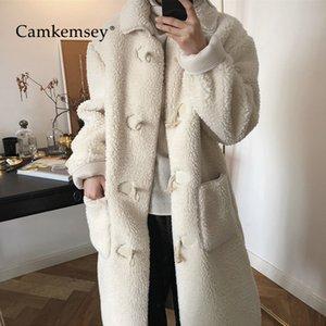 CamKemsey Wintermäntel Frauen Herbst Casual Taschen Einreiher Dicke Warme Beige Lange Kunstpelz Wintermäntel Weibliche Outwear
