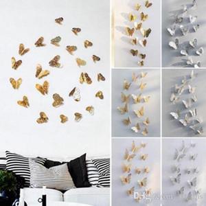Wand-Höhle-Schmetterlings-Kunst Pure Color Schlafzimmer Wohnzimmer Haus-Dekor-Kind-DIY Dekoration Metall Malerei WY304Q