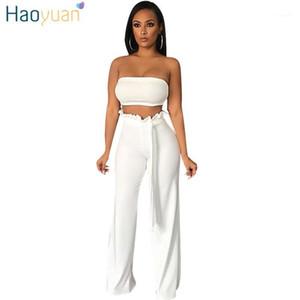 Haoyuan Zweiteiler Sommer-Outfits Sexy Off Sholder Strapless Crop Tops + Wide Leg Hosen-Anzug 2 Stück Frauk Passende Set1