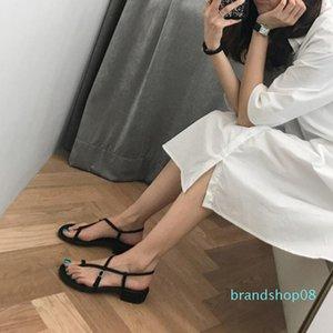 Crystal2019 Sandals Com Grossa Black Woman Joker One Toe pitada Fada Vento Baixo Com
