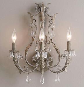 Vintage / antiga / retro cristal lâmpada de parede branco / cinza parede francês acende home interior decoração de cabeceira quarto arandela LLFA luz