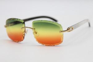 2020 Солнцезащитные очки Резные Черные T8200762 Белый Золотой Унисекс Белый Золотой Популярные C Горно-Розовые Золотые Буффало Красное Линза Зеленое Украшение Я Трос