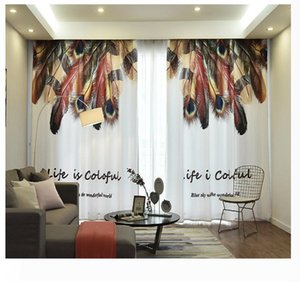 Feather lace curtains Semi-transparent light yarn double curtain Living Room Floating Curtain Nordic Bedroom Pastoral Style Curtain Cloth