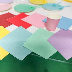 20Pcs Multicolor Solid Colours Printing Paper Handkerchiefs Luncheon Plain Napkins Birthday Party Disposable Tableware Napkin