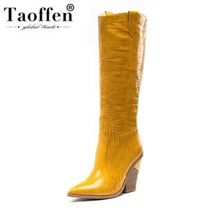 Taoffen Cuissardes Femmes New Taille Plus 33-46 Hiver chaud Chaussures en peluche Gardez Western Cowgirl épaisse Bottes à talon