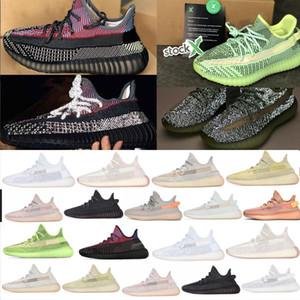 Kanye West Sneakers кроссовки женщин и мужчин кроссовки Earth Yeezreel Светоотражающие масло Кунжутное Замороженные тройные белые спортивные туфли
