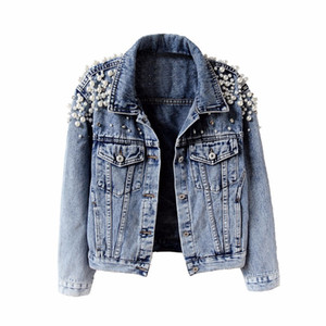 Fashion pearls cropped denim jacket women 2019 two pockets vintage jeans chaqueta mujer slim single breasted jaqueta feminina