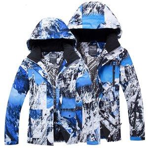 2019 الثلوج في فصل الشتاء سترة المرأة مقنع دافئ على الجليد الرياضة الرجال سترة مضادة للماء في الهواء الطلق الملابس المصنوعة من القطن أنثى التزلج معاطف T190920