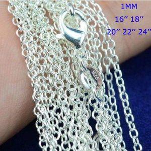 Colares Best Price! 100pcs / lot 925 Sterling Silver Rolo O Cadeia Colares Jóias 1 milímetro 16-24 925 prata Chains DIY Fit Pendant Jewelry