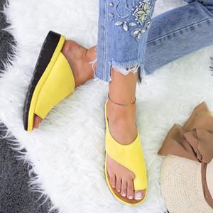 Mulheres PU sapatos confortáveis Platform Plano Sole Ladies Casual Suave Big Toe pé Correção sandália ortopédica Joanete Corrector