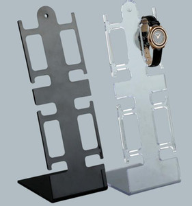 L forma de reloj de pulsera de plástico del soporte de exhibición del estante del sostenedor de la joyería pulsera de reloj de visualización, alejado Negro escaparate GGA3052-4