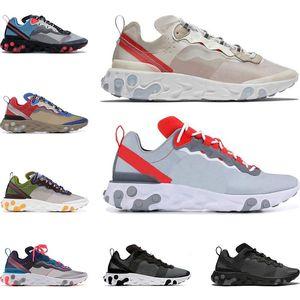 nike react Yeni tepki elemanı 55 87 erkekler için koşu ayakkabıları kadın Moss Güneş Kırmızı üçlü siyah beyaz Kraliyet Kırmızı spor sneakers ayakkabı boyutu 36-45