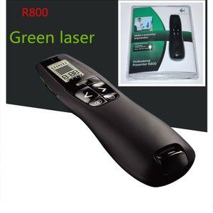 R800 Wireless Presenter profesional Control remoto con 5MW 532NM Green Laser Pointer, 2.4GHz Wireless USB PowerPoint PPT Clicker