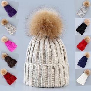 Fashion Woman Crochet Knitting Hat Men Winter Warm Solid Color Fur Pompom Beanies Cap Outdoor Ski Hat TTA1493