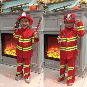Costumi Fireman Sam Bambini di Halloween Cosplay di Natale per usura ragazze ragazzo Carnival Party Fancy vestito Bambini Pompiere Uniform gioco