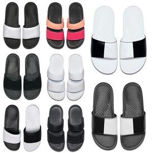 nike Moda yeni erkekler kadınlar tasarımcı terlik BENASSI siyah beyaz kırmızı çizgili sandalet nedensel kaymaz yaz terlik terlik terlik