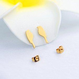 여성 여자 생일 선물 스테인레스 스틸 로즈 골드 버드 작은 귀걸이 패션 쥬얼리 귀여운 작은 새 스터드 귀걸이