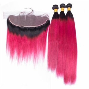 Hot Pink Омбр перуанское Virgin ткет волос с 13x4 Кружева Фронтальной Закрытие Straight 1B / Hot Pink Омбр Связка человеческих волос с Frontals