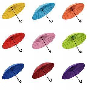 24 Bone Bend Mango Paraguas Floración Soleado Refuerzo Paraguas a prueba de viento Encuentro creativo Paraguas de floración en agua TTA838