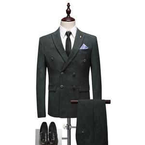 The latest wedding men's suit men's slim3 pieces groom tuxedo double-breasted men's smoking clothing suit jacket