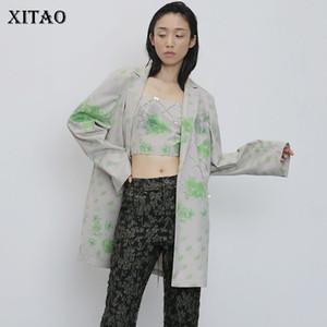 Xitao más el tamaño de bolsillo de la impresión de Blazer ropa de las mujeres de primavera y verano 2020 nuevo de la manera floja con muesca Casual Top Coat ZLL5137