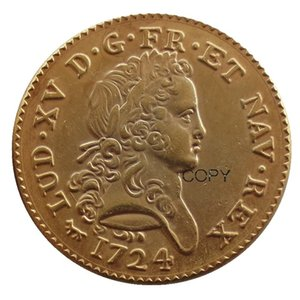 France 1723 A 1724 A Louis XV Double louis Gold Plated Coins