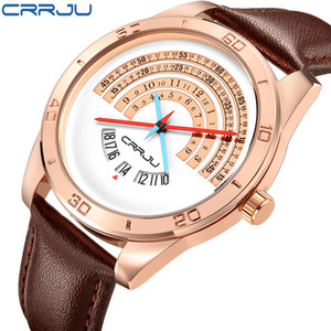CRRJU الرجال الجلود الرياضة الساعات الفاخرة ذكر مضحك ثنائي التقويم على مدار الساعة حركة اليابان للماء ووتش المعصم ERKEK كول الساعاتي