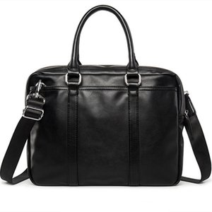 New Promotion Simple Business Men Briefcase Bag Leather Laptop Bag Man Shoulder bolsa maleta