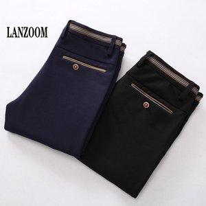 Wholesale- LANZOOM Brand 2017 Luxury Casual Office Suit Pants Mens Straight Business Wedding Dress Slim Fit Mid Waist Men Pants Large Size