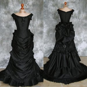 Black Taffeta Beaded Gothic Victorian Bustle Gown With Train Vampire Ball Masquerade Halloween Wedding Dress Steampunk Goth 19th Century