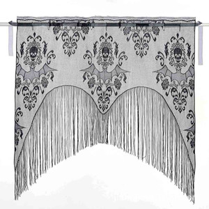 Skull Bat Web Curtain Topper Shawl Halloween Haunted House Home Tassel Party Supplies Halloween Curtain Decoration Drop shipping