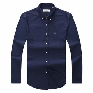 Marka Giyim 2018 sıcak erkek Timsah Nakış Polo Gömlek qulity Polos Erkekler Pamuk Uzun Kollu gömlek OXFORD S-3XL Sıcak Satış