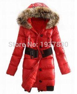 Abrigo de invierno de las mujeres Abajo de la capa y de la señora abajo de la chaqueta largo cálido cuello de piel grande Ladies Down Parkas envío gratis