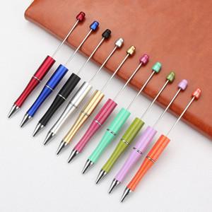 todo color de la mezcla variada añadir un bolas bolígrafo niños promocionales Jugar regalos de Navidad DIY creativo barato Beadable plástico pluma plumas grano de la bola