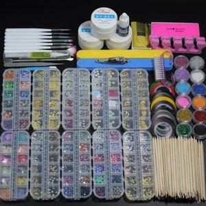 44pcs set Nail Acrylic Powder Glitter French Manicure Set Nail Art UV LED Gems Decoration Crystal Rhinestone Brush Tools Kits