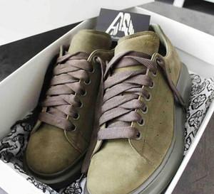 Los hombres zapatos de diseño con cordones de zapatos de boda 100% Gamuza Gris Negro Verde Plataforma de gran tamaño zapatillas de deporte de las mujeres de moda con la nueva caja Entrenadores