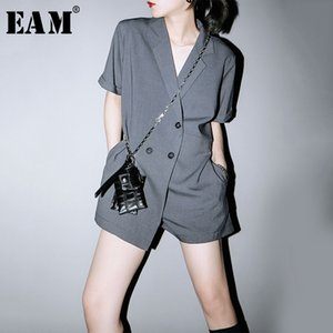 [EAM] Loose Fit Gray Double Breasted Women Playsuits New High Waist Pocket Stitch Pants Fashion Tide Spring Summer 2020 1U591 T200704