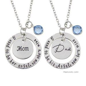 Tallada que solía ser redonda mina de Angel Ahora Él Con 'Día de la Madre s' Madre Padre colgante de cristal collar de perlas de S Padre regalo del día