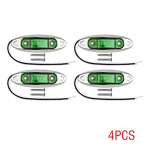 4 Pcs Green 3LED Side Marker Sealed Light Clearance Water Against Light Lamp 12-24V