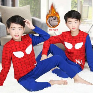 2 Sets Boys Thermal Underwear Pajama Pants Set Plus Velvet Thick Sweater Pants Baby Sleeping Clothes Children Winter Clothing