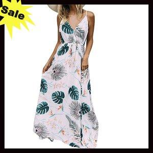 Maxi-Kleid-Sommer-Blumendruck Bohemian Fashion Soft-Strand-Feiertag beiläufige Frauen lange Kleider A1
